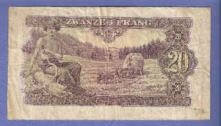 1943 LUXEMBURG 20 FRANC NOTE