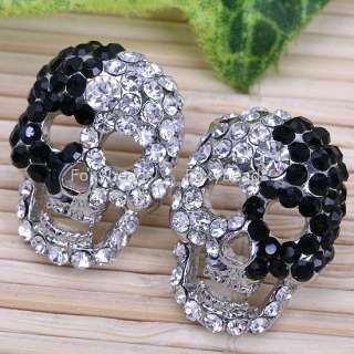 BLACK*WHITE CRYSTAL SKULL EAR PIERCING EARRING STUD 2PC