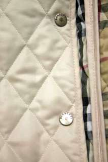 Burberry London Lightweight Quilted Tan Nova Check Plaid Jacket Coat