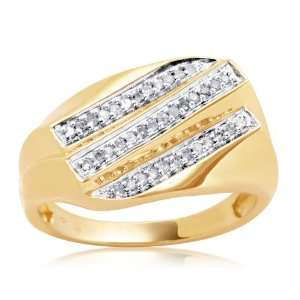 Mens 18k Gold Plated Sterling Silver 3 Row Diamond Ring (1/5 cttw, I