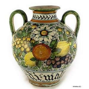 MAJOLICA: Vase 2/Handles Fruit Design [#CO28 MAJ]: Home