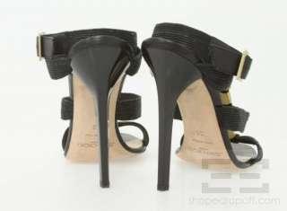 Jimmy Choo Black Multi Strap Gold Embellished Strappy Heels Size 38