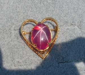 LINDE LINDY STAR RUBY CREATED SAPPHIRE VINTAGE GF PIN
