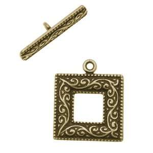 Antiqued Brass Toggle Clasp Square Scroll 21.5mm (1 Set