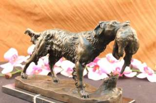 SIGNED MOIGNIEZ HUNTING DOG W/ QUAIL BRONZE SCULPTURE ON MARBLE BASE
