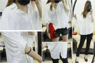 Ladies Lantern Loose Sleeve Shirt Blouse Blue/White Top Jyk