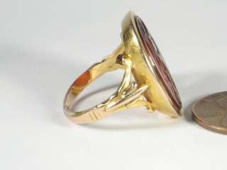 ANTIQUE 18K GOLD INTAGLIO SEAL RING LEDA SWAN c1800
