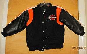 Boys HARLEY DAVIDSON MOTORCYCLE JACKET 6 Reversible Wool faux Leather