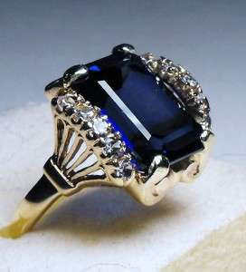 ANTIQUE ART NOUVEA FILIGREE 8.25cts KASHMIR SAPPHIRE SOLID GOLD RING