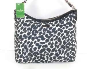 Kate Spade Black White Nylon Medium Serena Hobo Shoulder Handbag Purse
