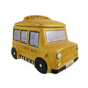Yellow School Bus Ceramic Cookie Jar