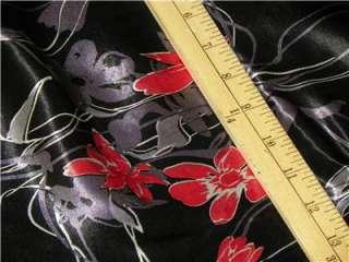 BLACK JAPANESE ORIENTAL SHINY SATIN FABRIC by YARD RED