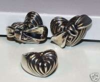 Lagos Sterling Heart Bow Earrings and Ring Set ESTATE