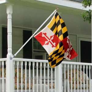Maryland 3x5 foot Tornado porch flag kit   silver anti
