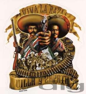 VIVA LA RAZA Chicanos with Smoking Gun Sticker / Decal