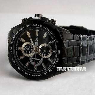 water Fashion men black dial steel quartz analog sports luxury wrist