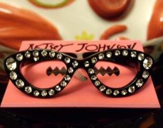 AUTH Betsey Johnson CRYSTAL PARIS CAT EYE GLASSES SUNGLASSES Dual