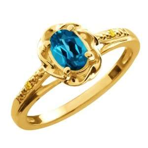 Oval London Blue Topaz Canary Diamond Gold Plated Sterling Silver Ring
