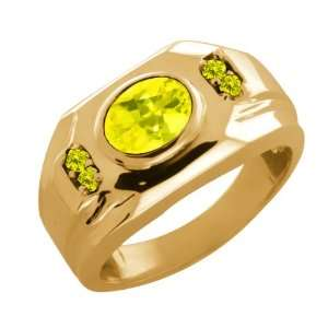 68 Ct Oval Canary Mystic Topaz and Canary Diamond 18k Yellow Gold Ring