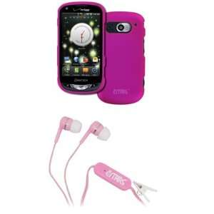 Breakout Hot Pink Rubberized Hard Case Cover + Pink Stereo Hands Free