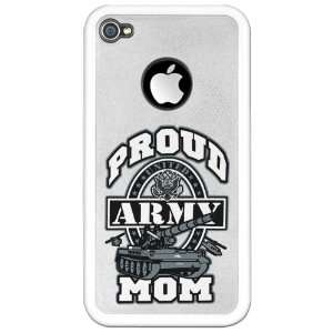 iPhone 4 or 4S Clear Case White Proud Army Mom Tank