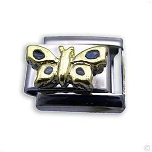 com Butterfly gold/green   italian Charms for Bracelet, Classic italy