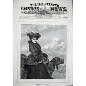 1879 Storey Fine Art Whip Hand Lady Woman Dog Hunting