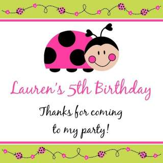 SWEET LADYBUG Birthday Party Favors Favor Tags PINK