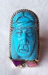 BOLD~HAND CARVED~TURQUOISE~STERLING~INDIAN MEDICINE MAN~RING~BY