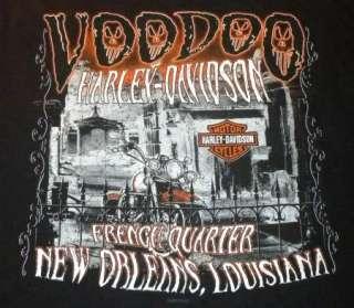 HARLEY DAVIDSON T Shirt NEW ORLEANS Vtg VooDoo SKULL BLACK Motorcycle