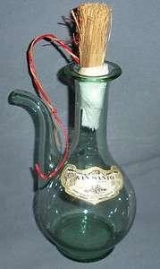 VINTAGE HANDBLOWN GLASS WINE BOTTLE DECANTER LT GREEN