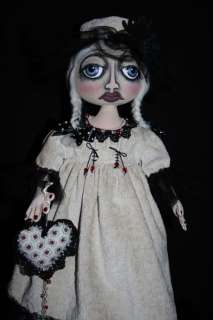 Primitive Folk Art Doll~OOAK~Valentines Day Folk Art Doll with Heart