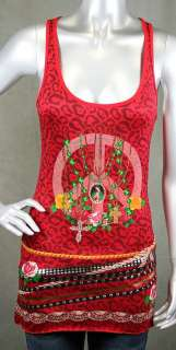 Paco Chicano by Audigier Peace Tank chains Red shirt