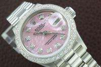 ROLEX GOLD/SS DATEJUST MOTHER OF PEARL DIAMOND WATCH w/ PRESIDENT BAND