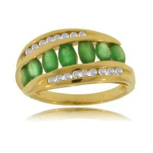 Natural Emerald Diamond Yellow Gold Ring   Channel Set
