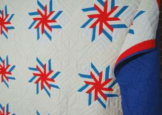 Large Vintage Red, White & Blue Pinwheel Stars PATRIOTIC Antique Quilt