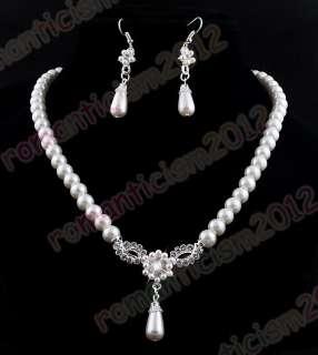 FREE Wedding pearl crystal choker necklace EARRING set