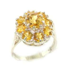 com Luxury Ladies Solid White Gold Natural Citrine Large Cluster Ring