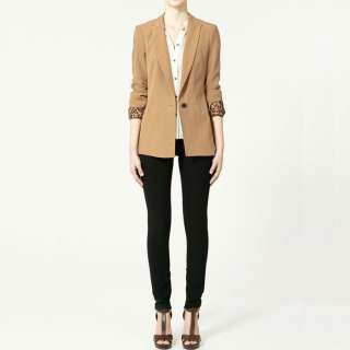 FASHION ON MOON FANCYQUBE CLASSIC ONE BUTTON ROLLED SLEEVE BLAZER