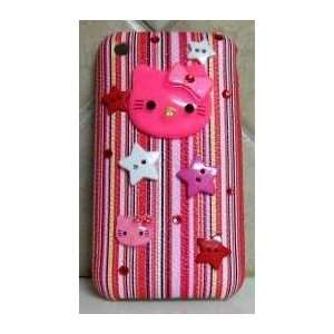 HELLO KITTY IPHONE CASE HOT PINK STRIPED IPHONE 3G 3GS CASE W/ 3 D