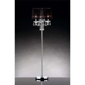 18dia Sheer Floor Lamp Black Shade on a Chrome Plated Metal#ok5111f