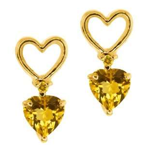 0.46 Ct Heart Shape Citrine Gold Plated Argentium Silver