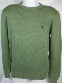 NWT Polo Ralph Lauren $98 Mens Sweater Crew neck Cotton Army Green