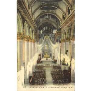 1920s Vintage Postcard Interior of Cathedral Boulogne Sur Mer France