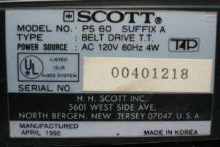 Scott PS60 Belt Drive Auto Return Turntable PS 60