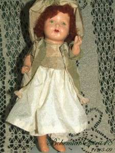 ANTIQUE 1920s COMPOSITION SLEEPY EYES RED HAIR DOLL