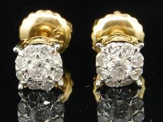 14K MENS LADIES YELLOW GOLD 1/4 CT SOLITAIRE LOOK ROUND DIAMOND STUDS