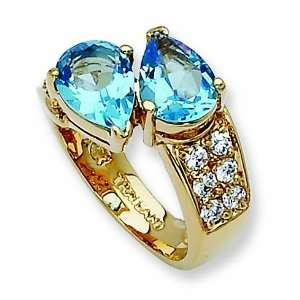 plated Swarovski Crystal Blue Pear Shape Ring/Gold Plated Mixed Metal
