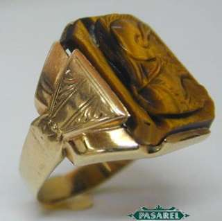 Unisex 10k Yellow Gold Tiger Eye Cameo Ring Size 9