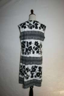 VINTAGE MOD WOMENS BLACK & WHITE 70S FLOWER SHEATH DRESS L LARGE DISCO